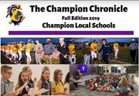 pictures of students, cover of the newsletter says: The champion chronicle Fall 2019