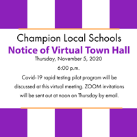 Purple and white stripes says:Notice of Virtual Town Hall