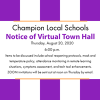 purple and white graphic says: Thursday, August 20, 2020 6:00 p.m.    Items to be discussed include school reopening protocols