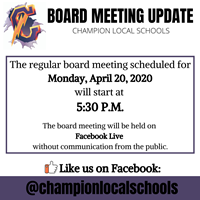 says: The board meeting scheduled for Monday the 20th will be held at 5:30 and be streamed on Facebook Live