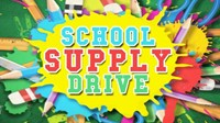 Colorful pencils and scissors Says: School Supply Drive