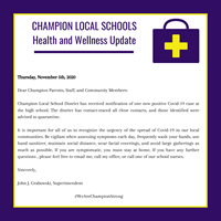 purple and white graphic says: Health and Wellness Update