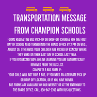 picture of bus says: Complete a bus form if:Your child will not ride a bus,  Call 330-847-2399 with bus questions.