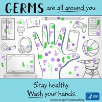 hand and schools items with germs on it. says:Germs are everywhere. Stay Healthy. Wash your hands.