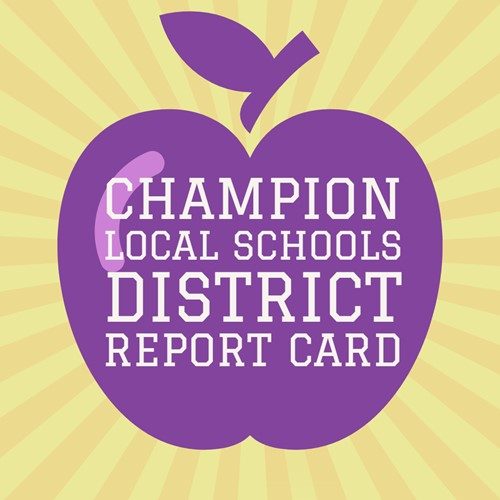 Purple apple says:Champion Local Schools District Report Card