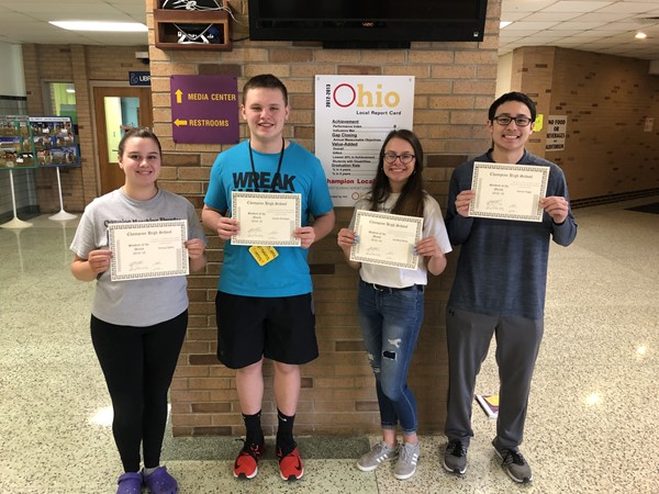 Congratulations to Aubrey Cykon, Parker Paniagua, Lyndsey Davis and Garrett Engle - Students of the Month