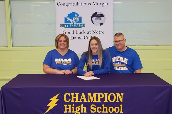 Morgan Tenney has signed her Letter of Intent to play volleyball at Notre Dame College