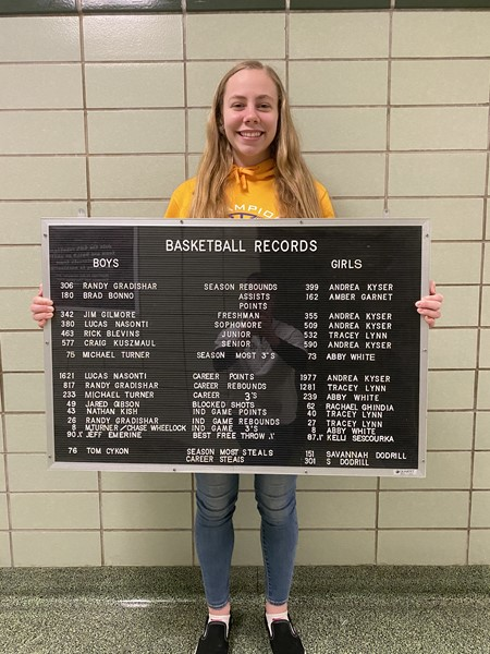 Sr. Savannah Dodrill breaks her own record for career steals and season steals.