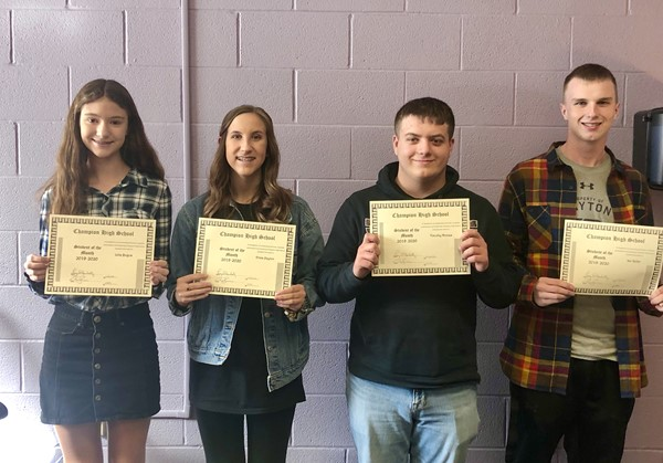 Congratulations to Students of the Month