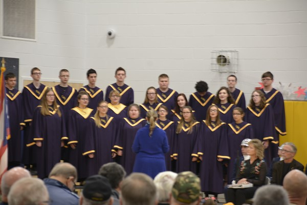 The CHS choir performed at Veterans Day. Choir is directed by Mrs. Katie Ahmed who is also a veteran.