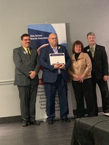 David Mahan is honored by NE Ohio School Board  Association for his 10 years of service as a board member of Champion Local Schools.