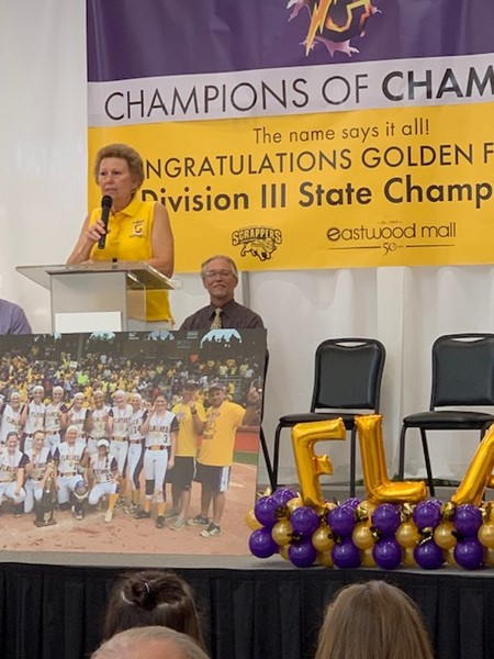 Golden flashes softball team honored by Cafaro company and Eastwood Mall presentation on July 8.