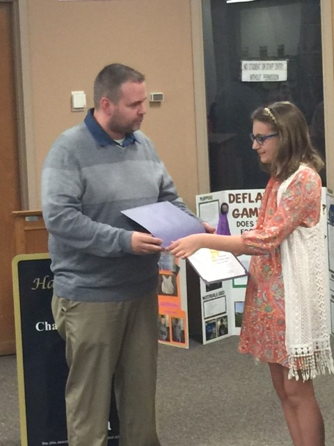 Board Vice President John Pitts recognized Middle School Science Fair winner