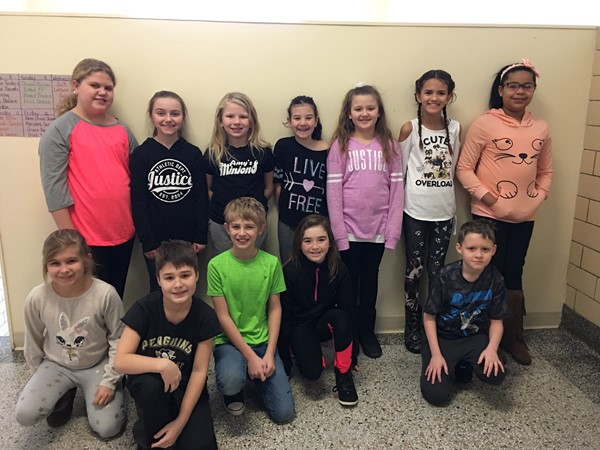 These students have been chosen by their fellow students to help out each day at dismissal time during the first half of January. Congratulations!