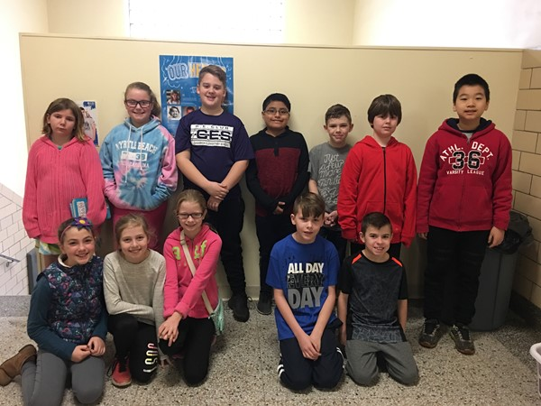 These students have been chosen by their fellow students to help out each day at dismissal time during the second half of February. Congratulations!