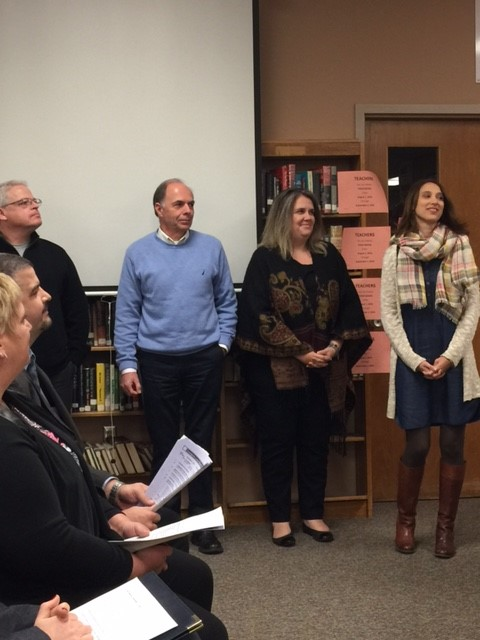 Levy core team recognized by BOE. Co-chairs Jennifer Nolan and Babette Sisler; and levy members Rich Zigarovich and Paul Fortuna