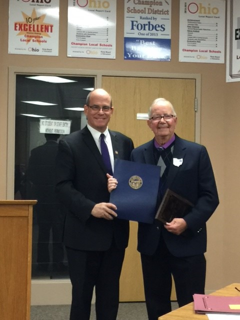 US Representative Michael O'Brien pays tribute to Roger Samuelson for his extensive school board service