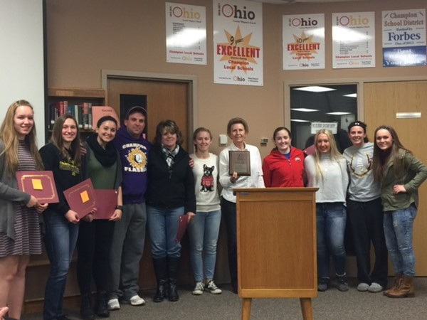 Girls softball team is saluted by BOE for designation as top academic team nationally.