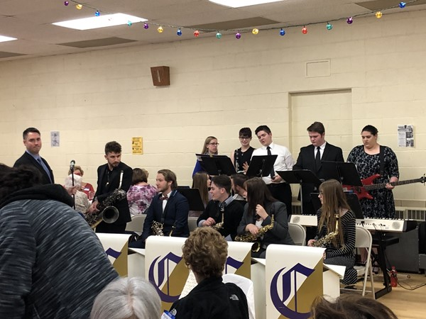 Champion High School musicians play instruments