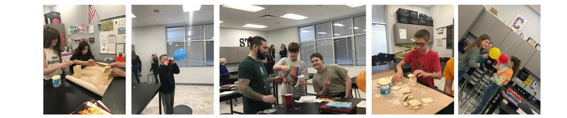 5 pictures from Cookie Day in 7th grade, students designing cookie towers and other STEM projects