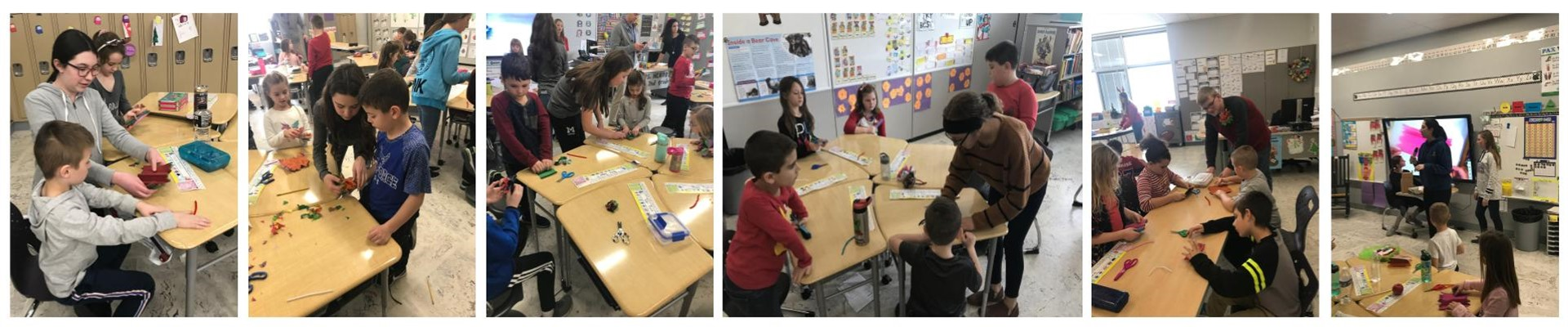 5 pictures of 8th grade students helping kids make tissue flowers
