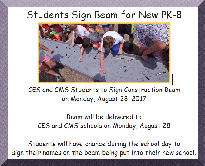 CES & CMS students to sign new PK-8 Building steel beam
