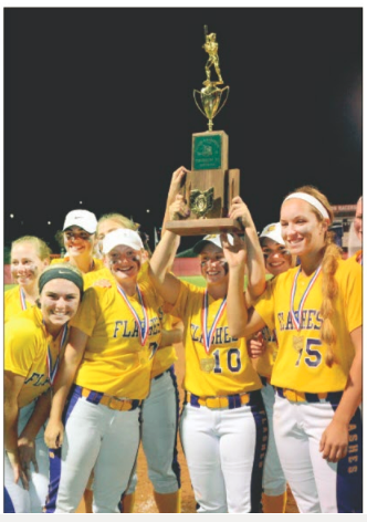 Girls softball champs holding trophy