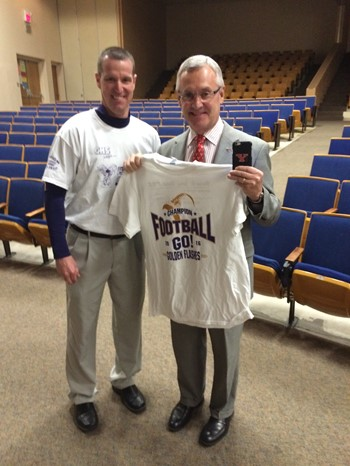 Athletics director Tim Cope and YSU President Jim Tressel pictured