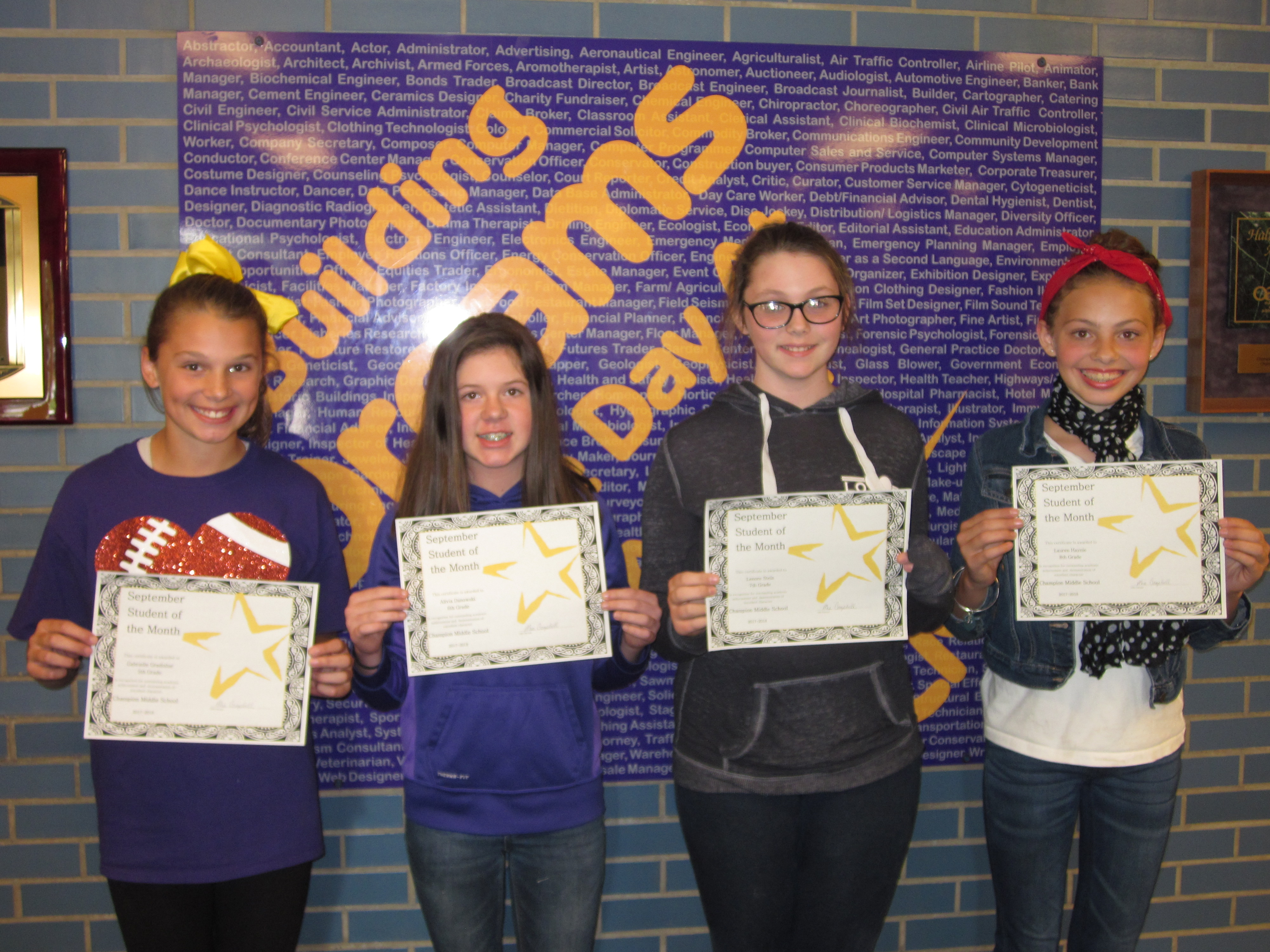 September 2017 Students of the Month