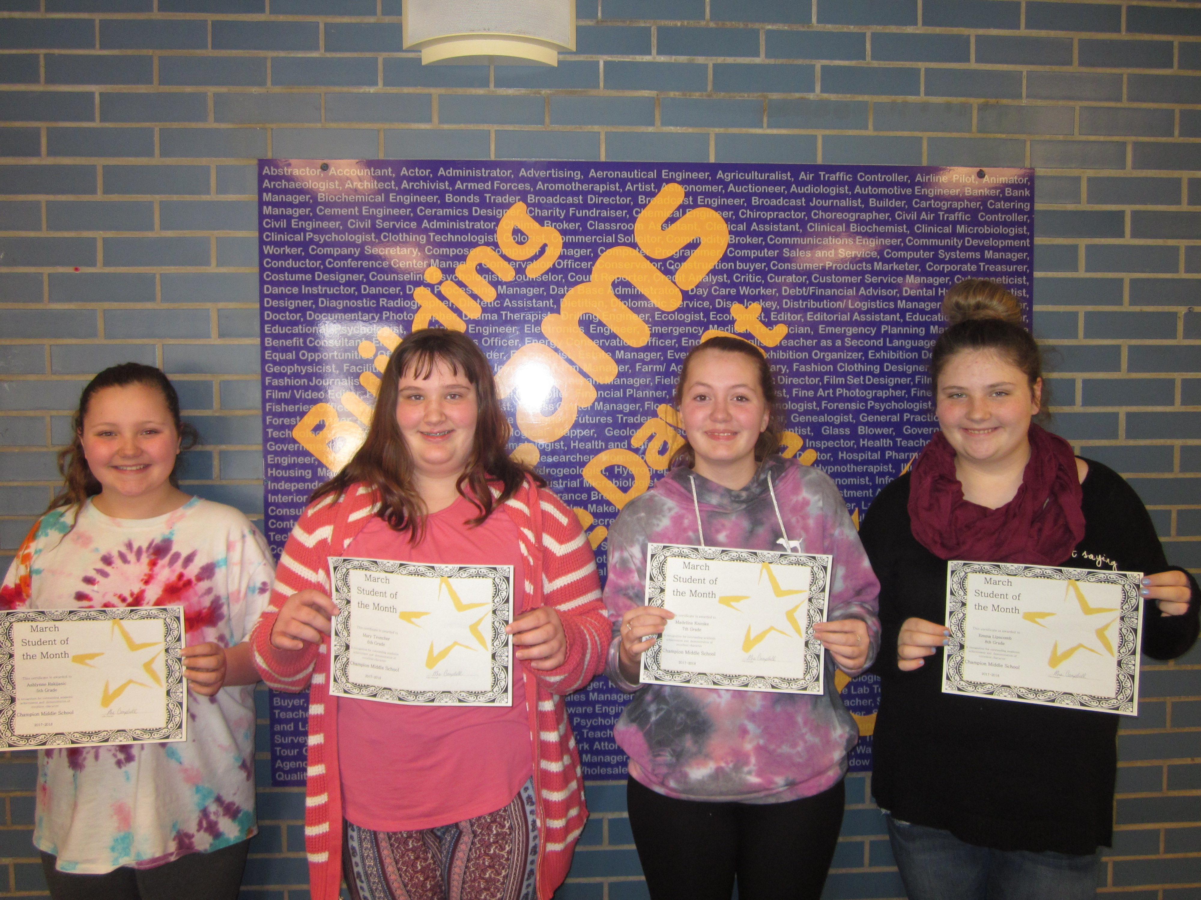 March 2018 Students of the Month