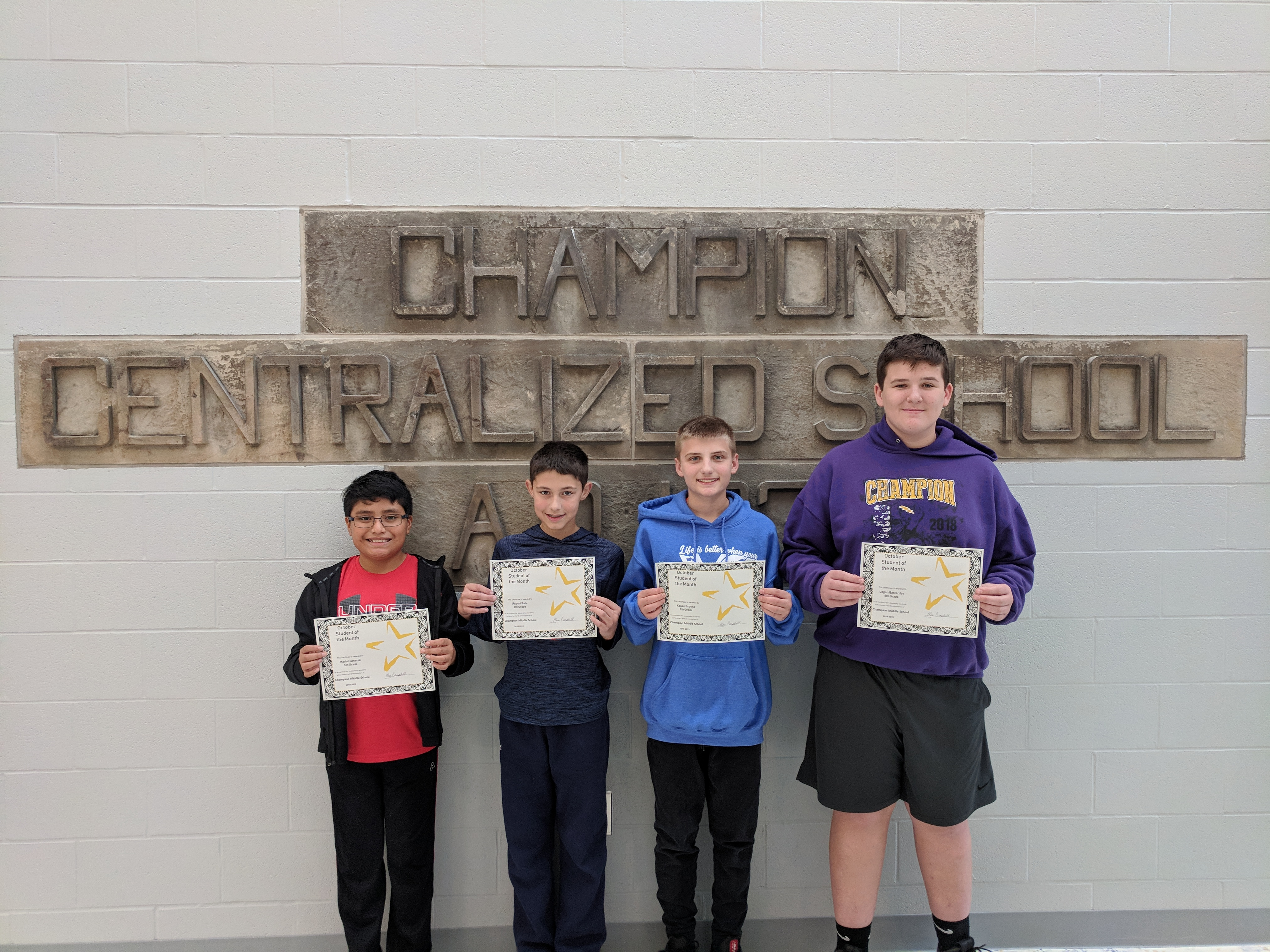 October 2018 CMS Students of the Month