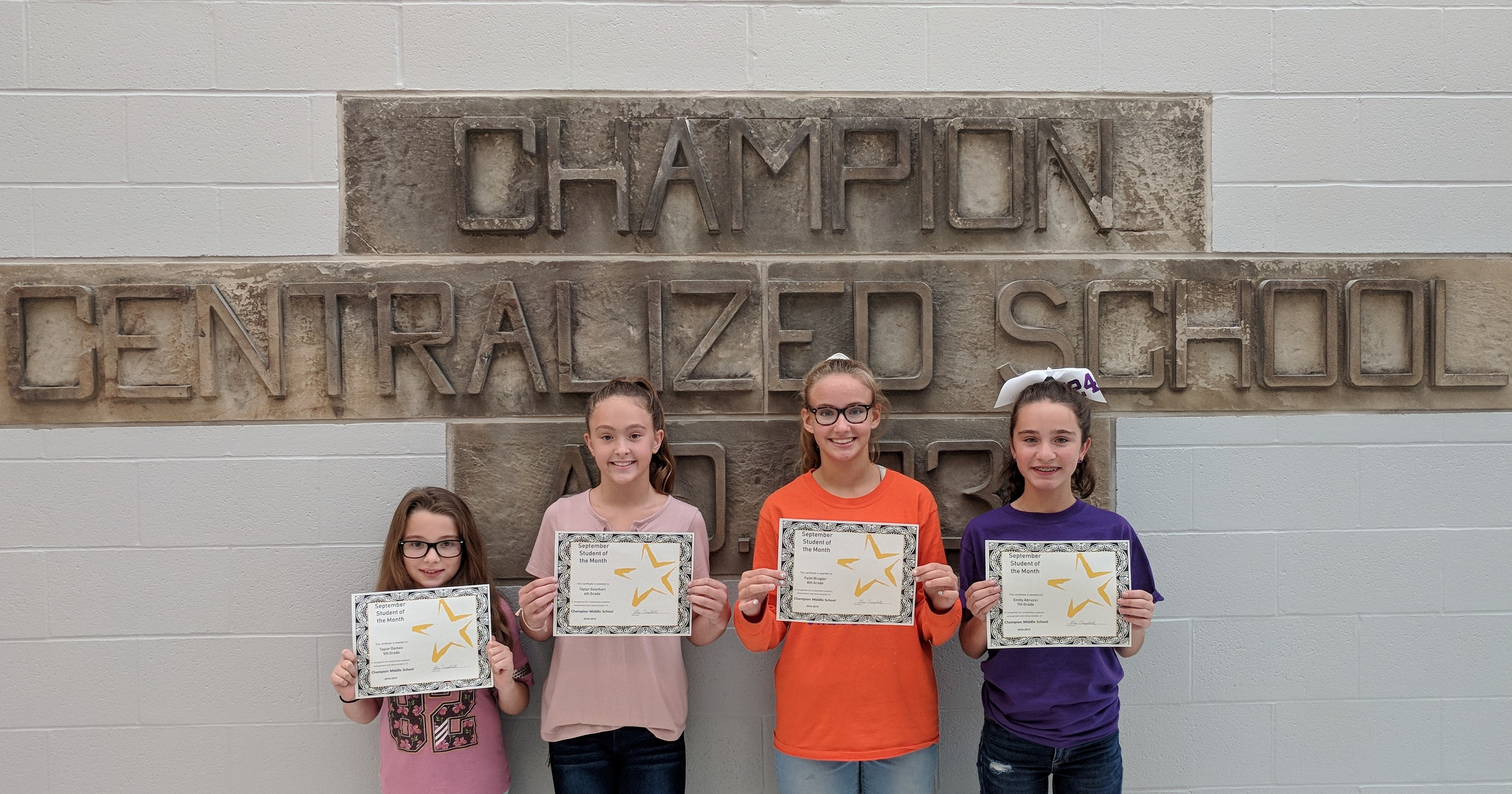 September 2018 CMS Students of the Month