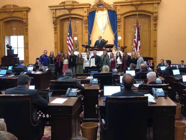 Champion High School Softball Champions  and coaches honored in Columbus by the State Legislature on 12/5/2018