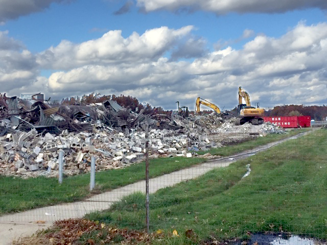 Middle school demolition with a bulldozer