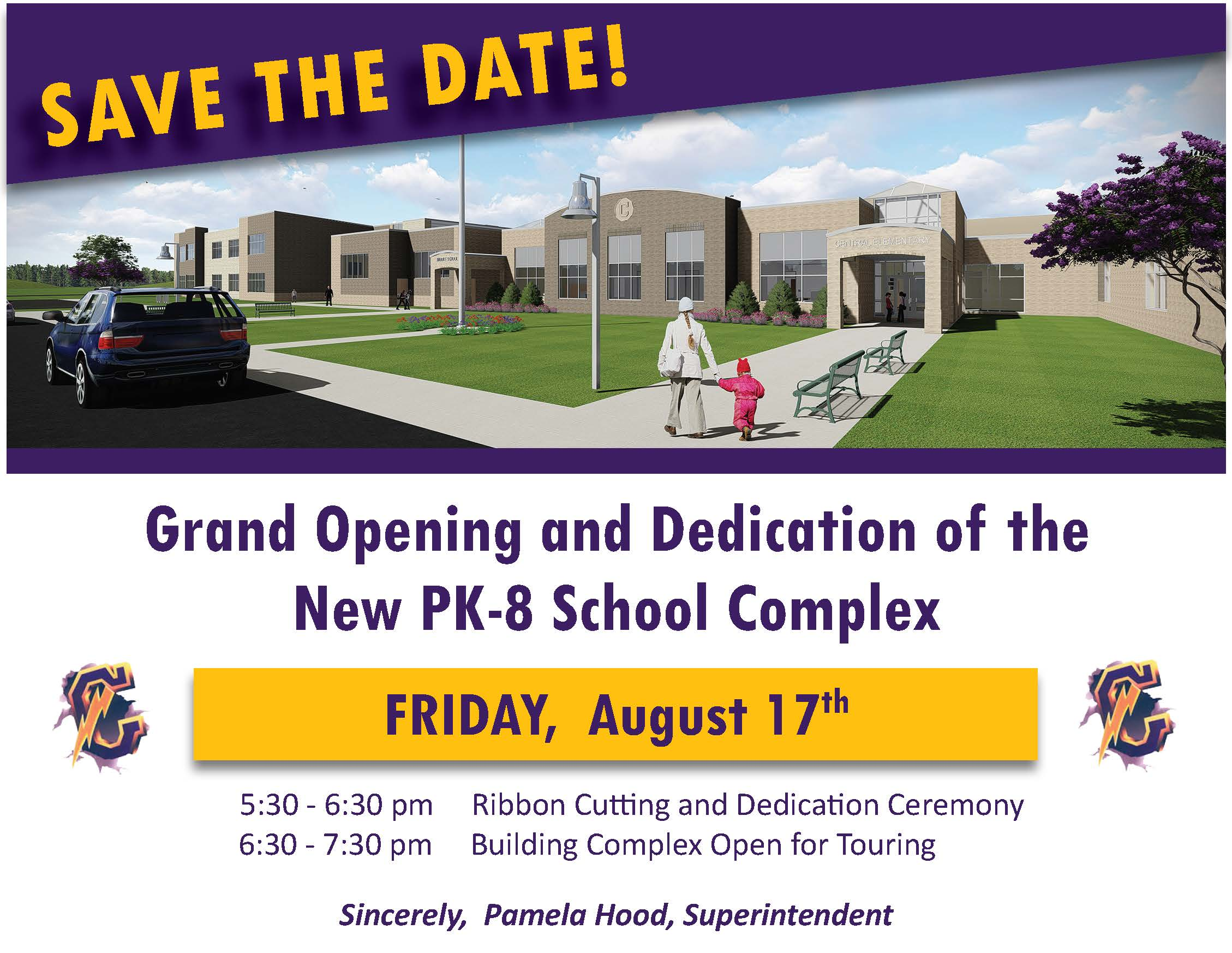 Dedication Postcard SAYS: Save the Date. Grand Opening and Dedication of the New PK-8 Building August 17.