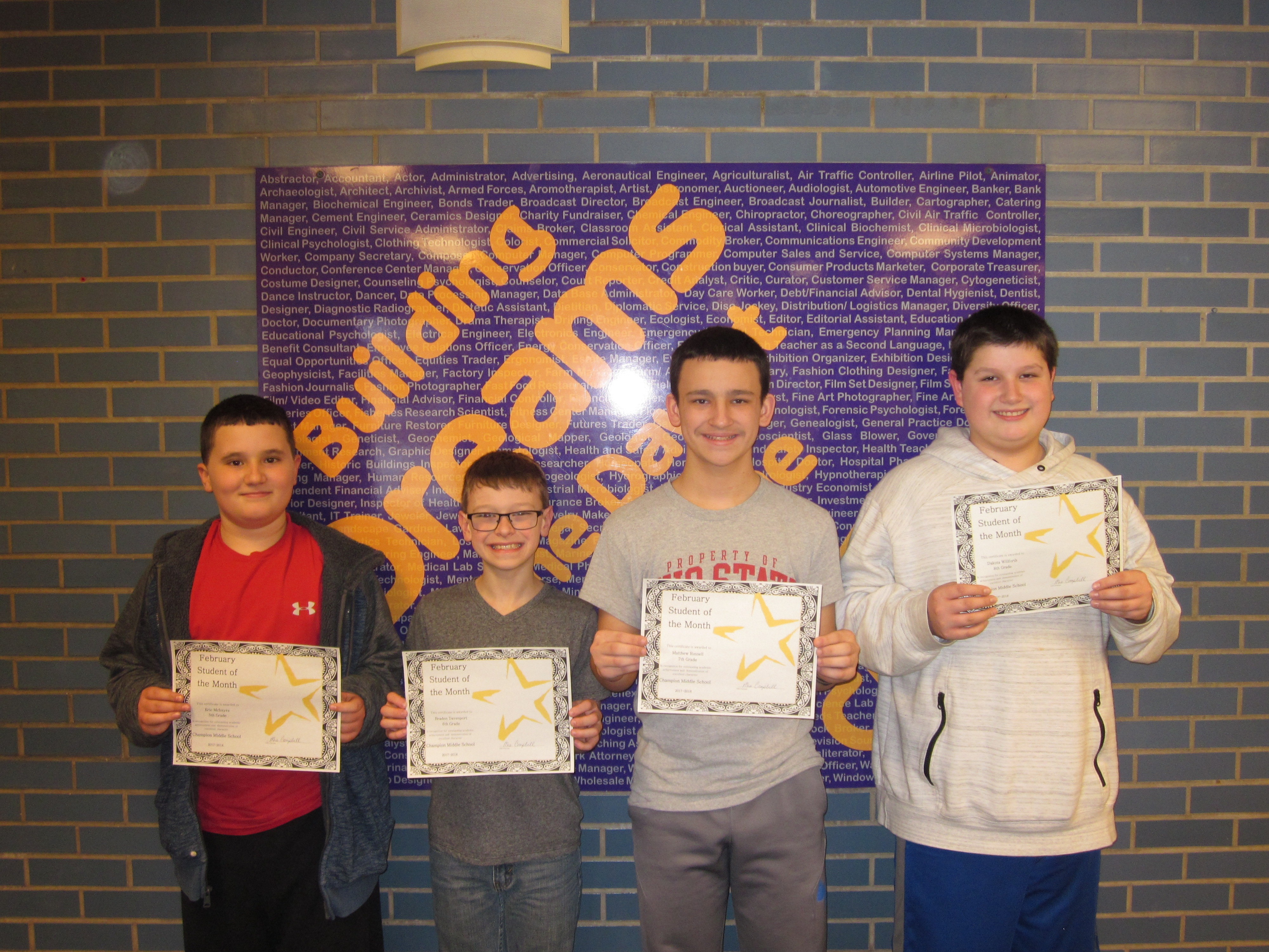 February 2018 Students of the Month