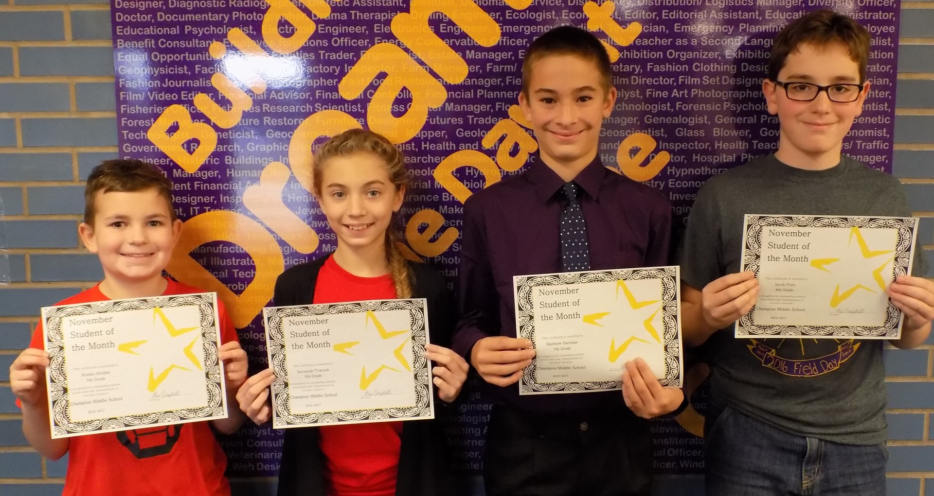 November 2016 Students of the Month