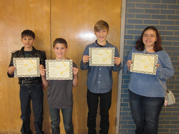 CMS December 2015 Students of the Month