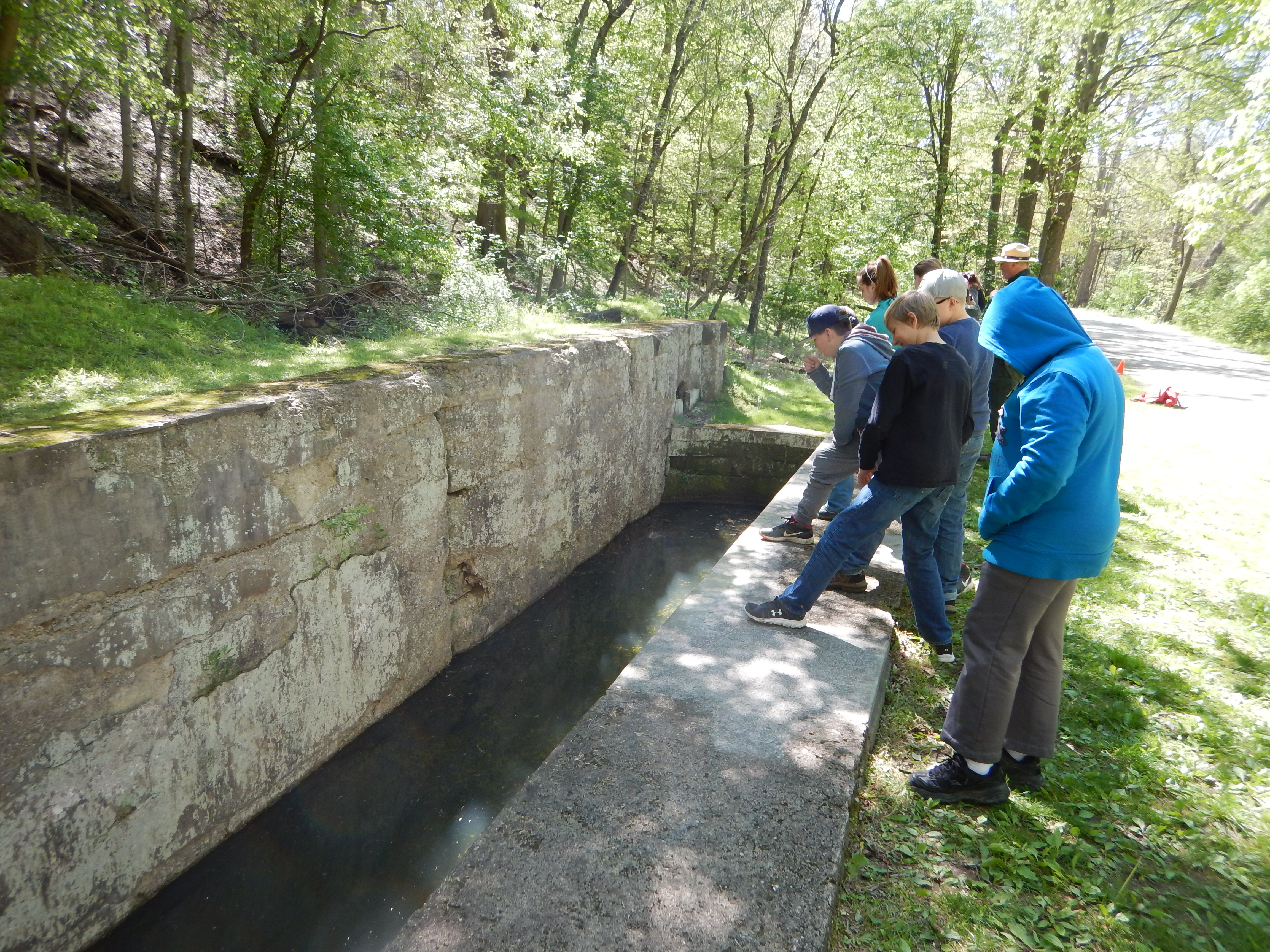 At the national park students worked in teams to cut invasive plants, learned about the importance of good water quality in the Cuyahoga River, and learned about the Erie Canal.