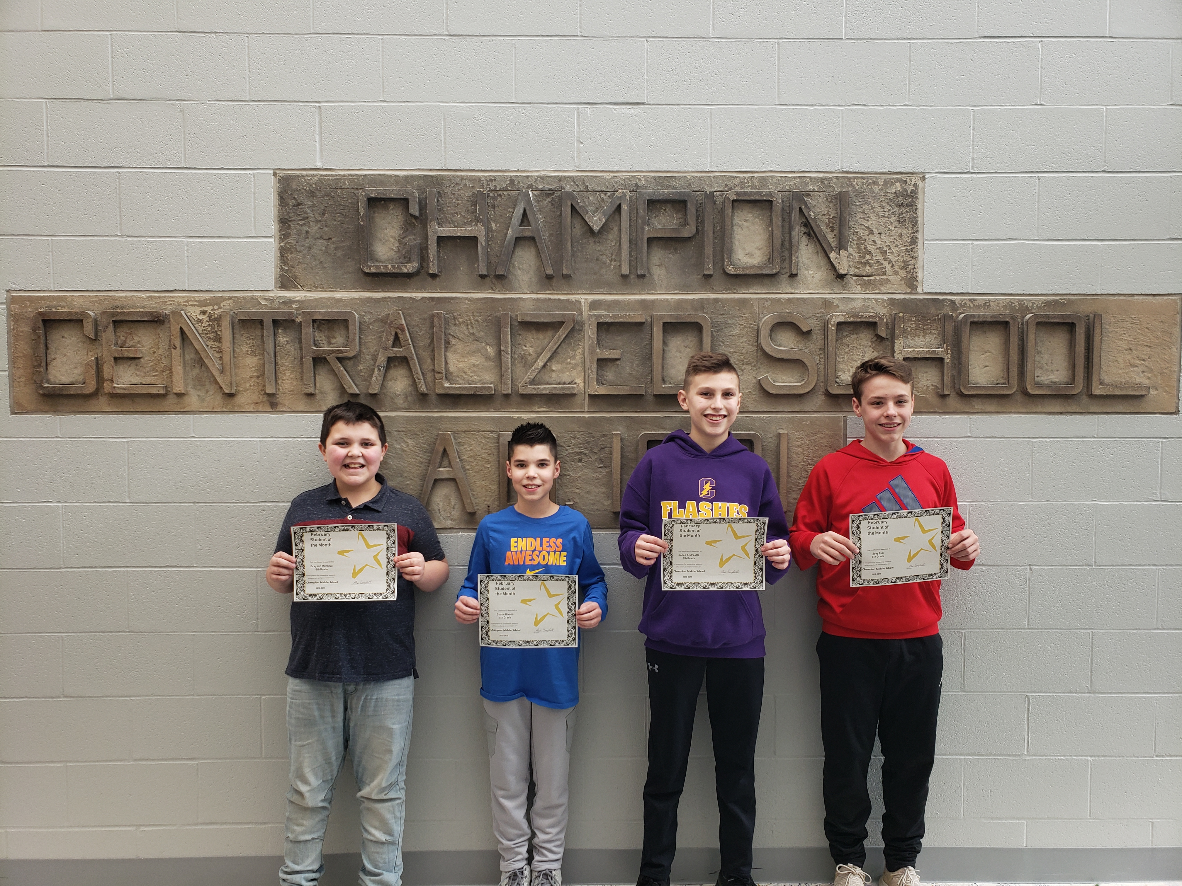 5th grade- Grayson Montoya, 6th Grade-Shane Hixson, 7th Grade-Jacob Andreatta, 8th Grade-Joey Fell