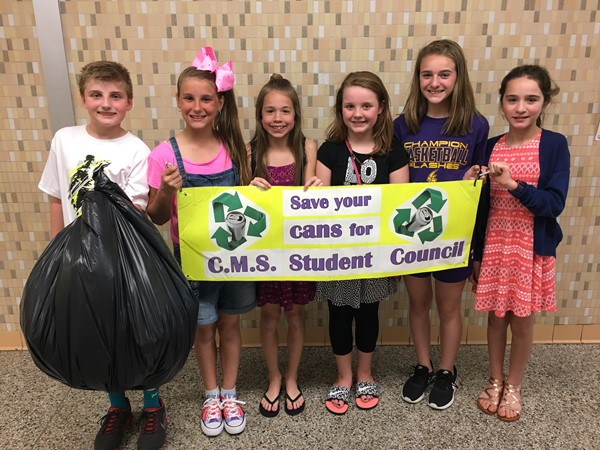 The Student Council of Champion Middle School has been collecting empty aluminum cans all year for an annual recycling drive contest sponsored by Novelis in Warren.  They won the first place prize of $5,000, collecting a total of 712 pounds of cans.