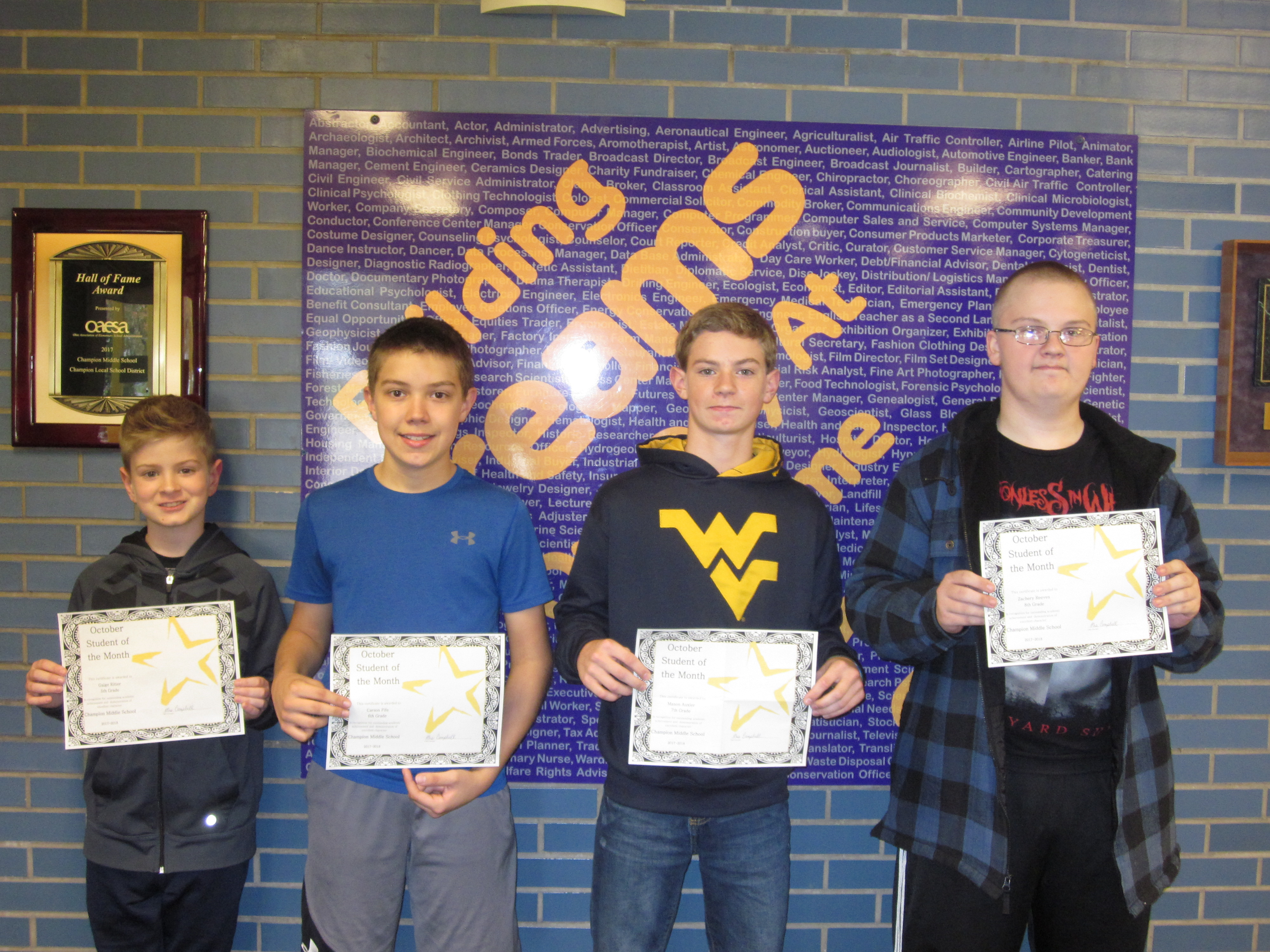 Gaige Ritter-5th grade, Carson Fife-6th grade, Mason Auxier-7th grade, Zachery Reeves-8th grade