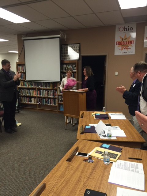 BOE Honors Mrs. Nannicola - 2016 Ohio National Distinguished Principal Award