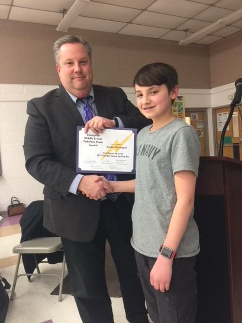 Mr. Scher and Board of Education recognizes 2018 Spelling Bee winners