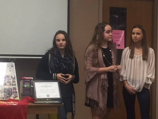Students honored for Columbus presentations.