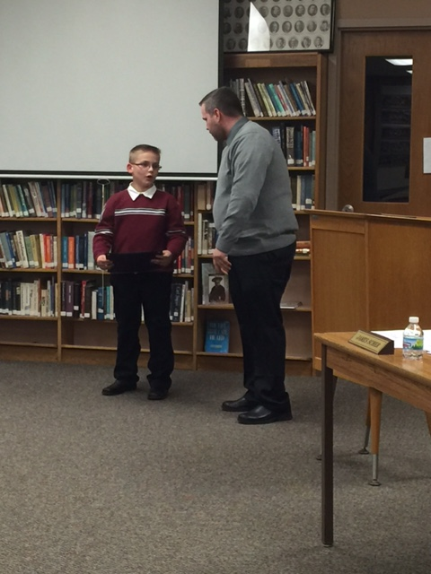 BOE Honors CES Spelling Bee Winner