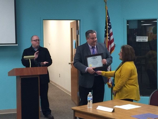 Laurena Rouan, Champion Schools Treasurer receives State Auditors award at Board of Education meeting