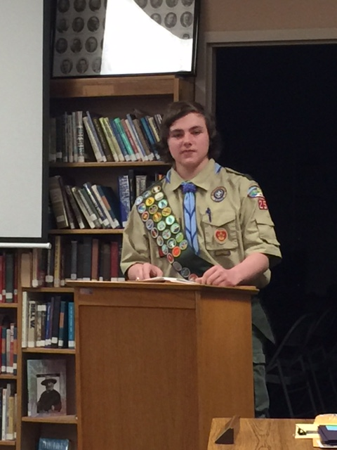 Devin Danko  Presents his Eagle Scout Service Project for CHS to the Board