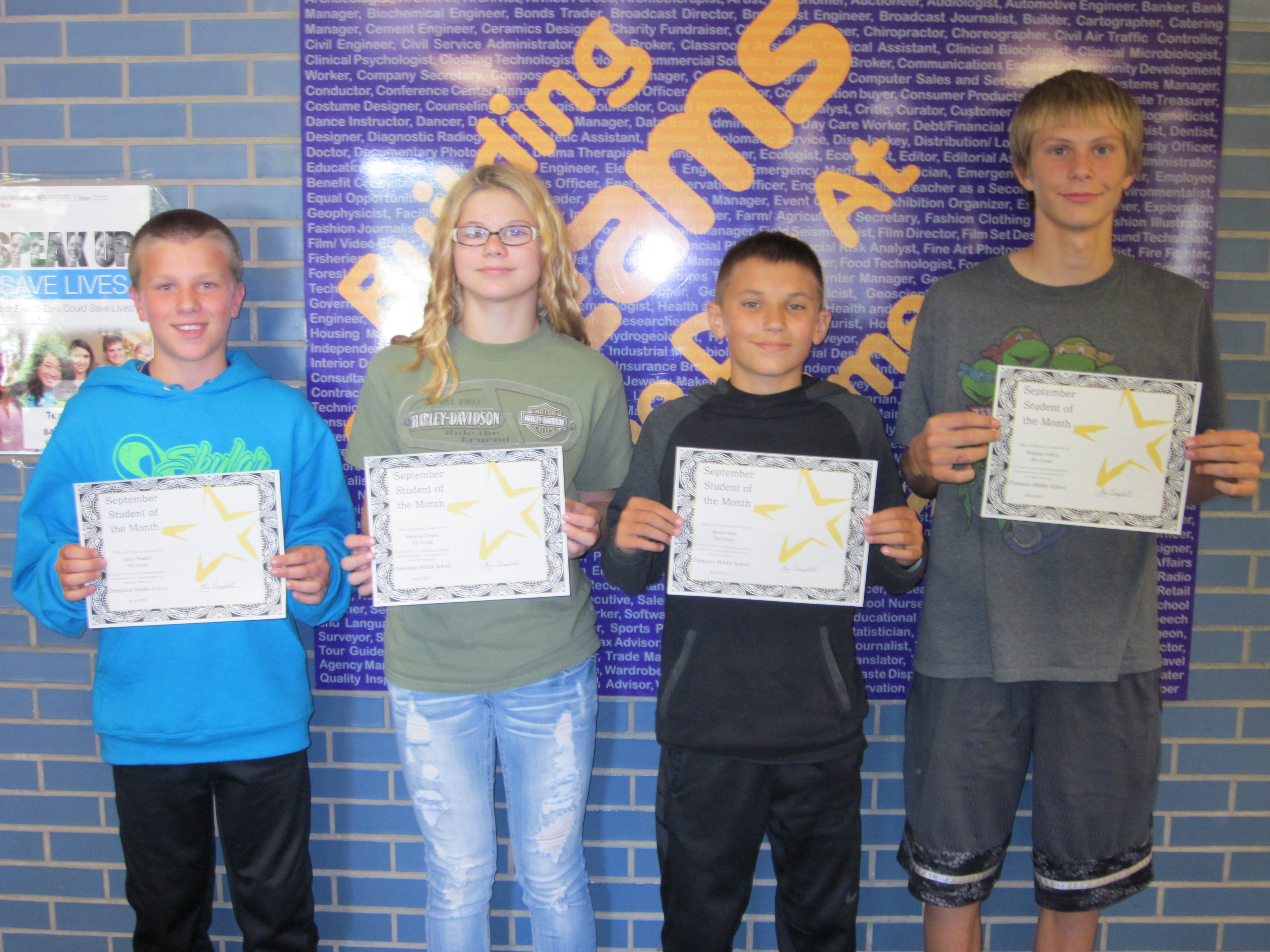 CMS September 2016 Students of the Month