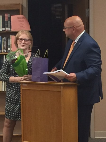 Carolyn Stear honored by Mr. Mahan